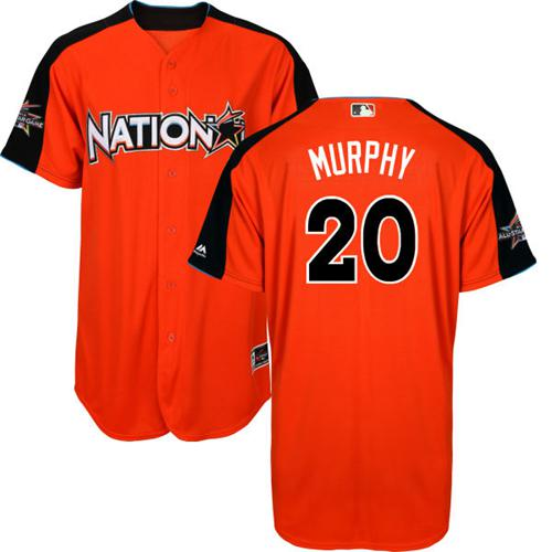 Nationals #20 Daniel Murphy Orange All-Star National League Stitched Youth MLB Jersey