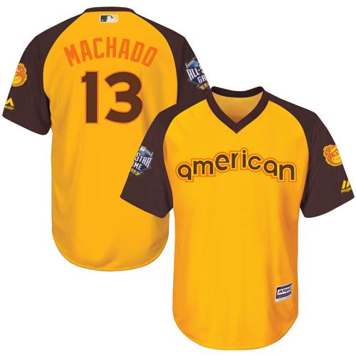Orioles #13 Manny Machado Gold 2016 All-Star American League Stitched Youth MLB Jersey