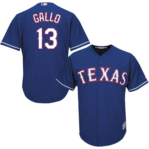 Rangers #13 Joey Gallo Blue Cool Base Stitched Youth MLB Jersey