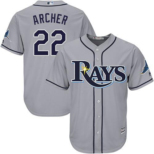 Rays #22 Chris Archer Grey Cool Base Stitched Youth MLB Jersey