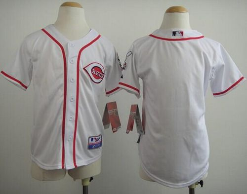 Reds Blank White Cool Base Stitched Youth MLB Jersey