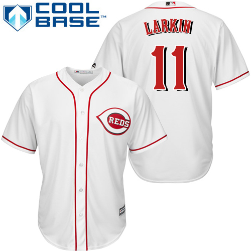 Reds #11 Barry Larkin White Cool Base Stitched Youth MLB Jersey