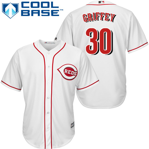 Reds #30 Ken Griffey White Cool Base Stitched Youth MLB Jersey