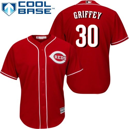 Reds #30 Ken Griffey Red Cool Base Stitched Youth MLB Jersey