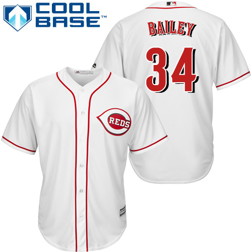 Reds #34 Homer Bailey White Cool Base Stitched Youth MLB Jersey