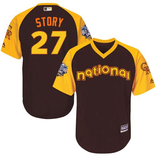 Rockies #27 Trevor Story Brown 2016 All-Star National League Stitched Youth MLB Jersey