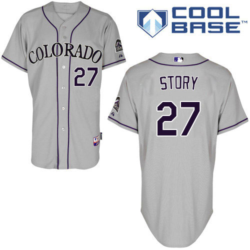 Rockies #27 Trevor Story Grey Cool Base Stitched Youth MLB Jersey