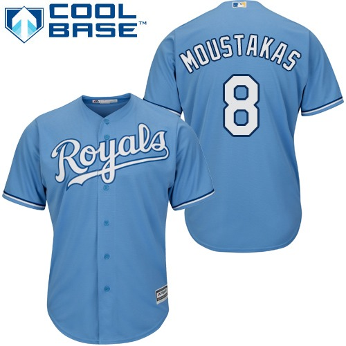 Royals #8 Mike Moustakas Light Blue Cool Base Stitched Youth MLB Jersey