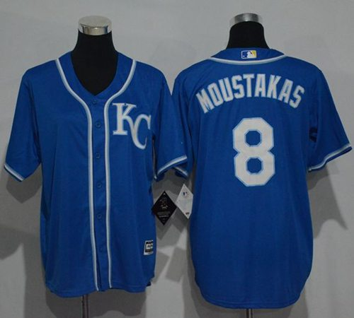 Royals #8 Mike Moustakas Blue Cool Base Stitched Youth MLB Jersey