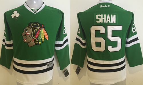 Blackhawks #65 Andrew Shaw Green Stitched Youth NHL Jersey