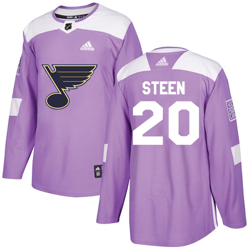 Adidas Blues #20 Alexander Steen Purple Authentic Fights Cancer Stitched Youth NHL Jersey