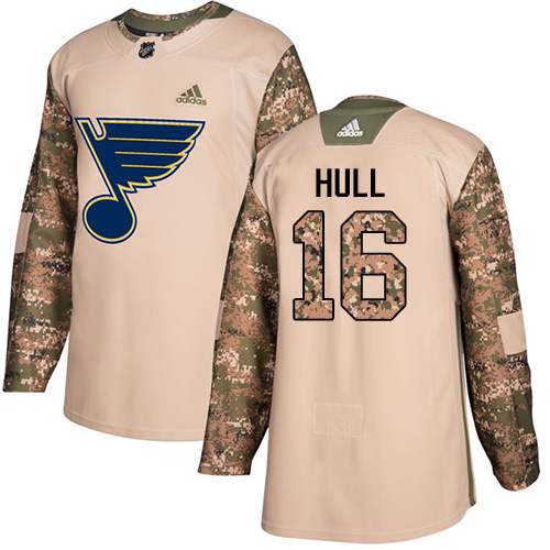 Adidas Blues #16 Brett Hull Camo Authentic Veterans Day Stitched Youth NHL Jersey