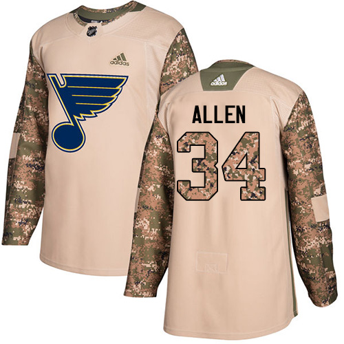 Adidas Blues #34 Jake Allen Camo Authentic Veterans Day Stitched Youth NHL Jersey