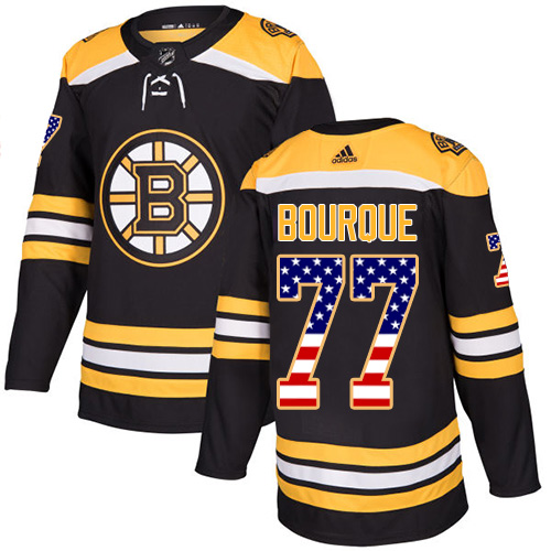 Adidas Bruins #77 Ray Bourque Black Home Authentic USA Flag Youth Stitched NHL Jersey