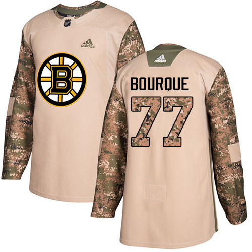 Adidas Bruins #77 Ray Bourque Camo Authentic Veterans Day Youth Stitched NHL Jersey