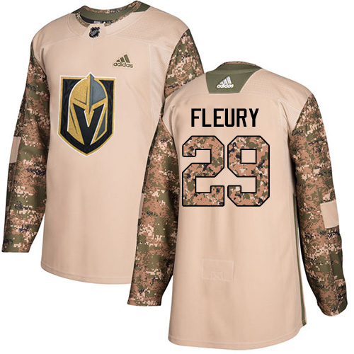Adidas Golden Knights #29 Marc-Andre Fleury Camo Authentic Veterans Day Stitched Youth NHL Jersey