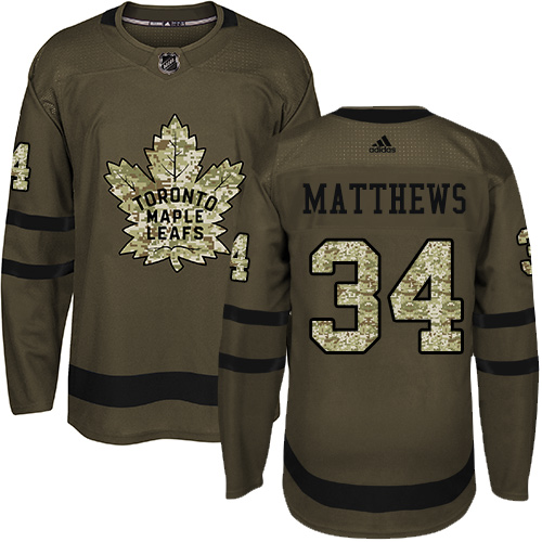 Adidas Maple Leafs #34 Auston Matthews Green Salute to Service Stitched Youth NHL Jersey