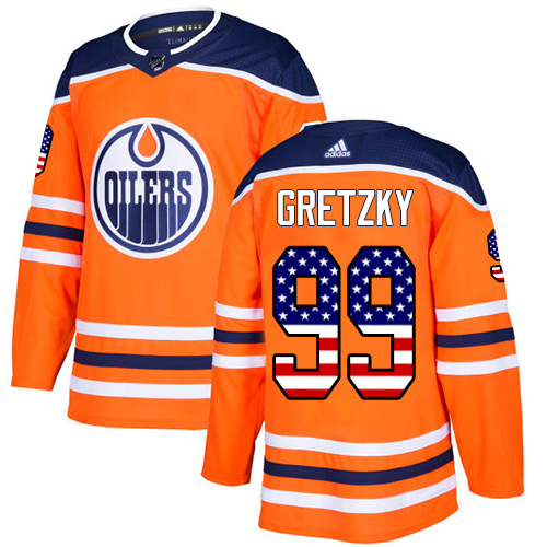 Adidas Oilers #99 Wayne Gretzky Orange Home Authentic USA Flag Stitched Youth NHL Jersey