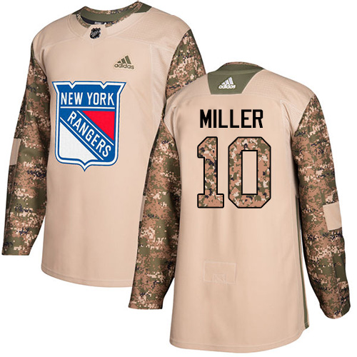 Adidas Rangers #10 J.T. Miller Camo Authentic Veterans Day Stitched Youth NHL Jersey