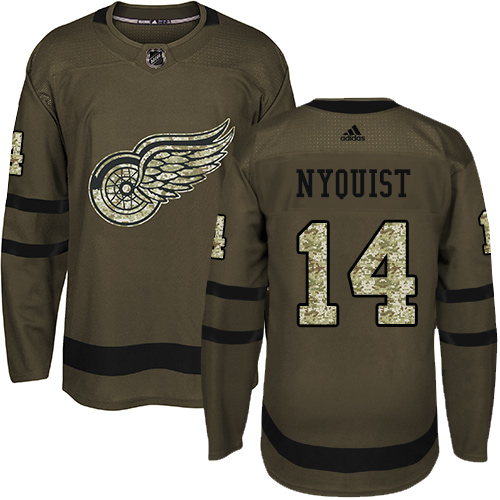 Adidas Red Wings #14 Gustav Nyquist Green Salute to Service Stitched Youth NHL Jersey