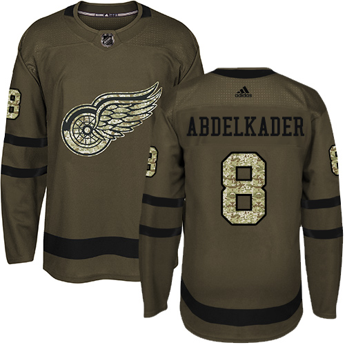 Adidas Red Wings #8 Justin Abdelkader Green Salute to Service Stitched Youth NHL Jersey