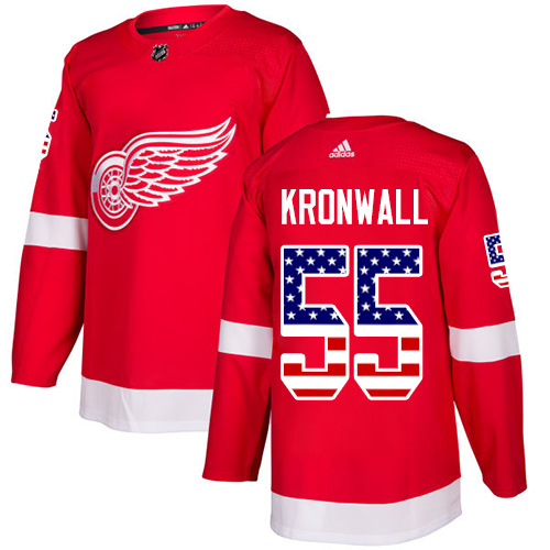 Adidas Red Wings #55 Niklas Kronwall Red Home Authentic USA Flag Stitched Youth NHL Jersey