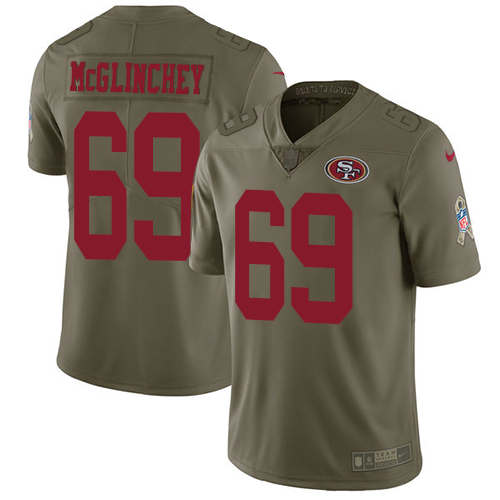 Nike 49ers #69 Mike McGlinchey Olive Youth Stitched NFL Limited Salute to Service Jersey