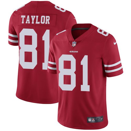 Nike 49ers #81 Trent Taylor Red Team Color Youth Stitched NFL Vapor Untouchable Limited Jersey
