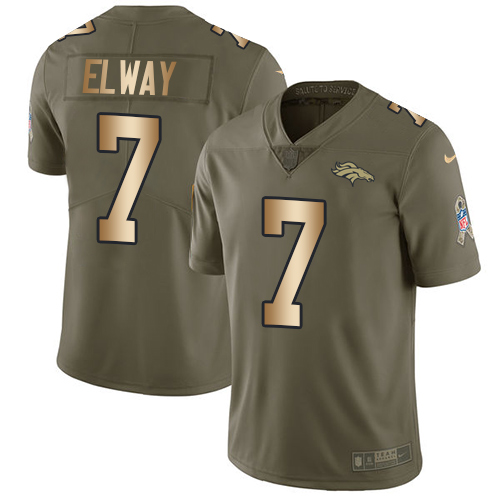 Nike Broncos #7 John Elway Olive/Gold Youth Stitched NFL Limited Salute to Service Jersey