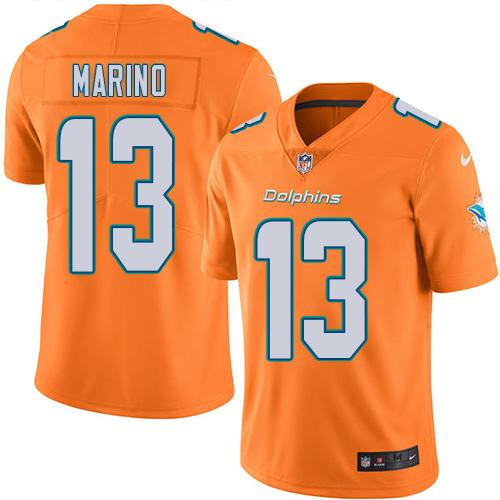 Nike Dolphins #13 Dan Marino Orange Youth Stitched NFL Limited Rush Jersey