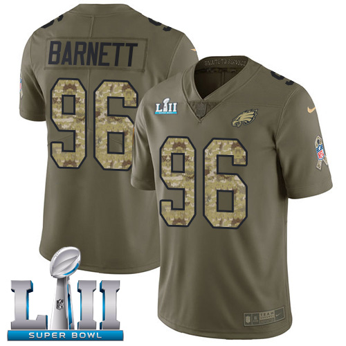 Nike Eagles #96 Derek Barnett Olive/Camo Super Bowl LII Youth Stitched NFL Limited Salute to Service Jersey
