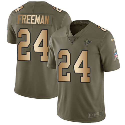 Nike Falcons #24 Devonta Freeman Olive/Gold Youth Stitched NFL Limited Salute to Service Jersey