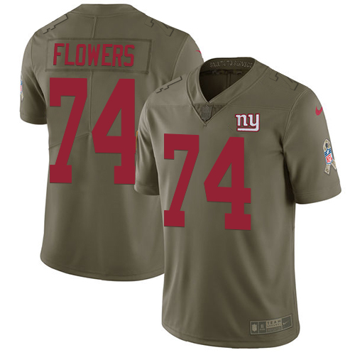 Nike Giants #74 Ereck Flowers Olive Youth Stitched NFL Limited Salute to Service Jersey