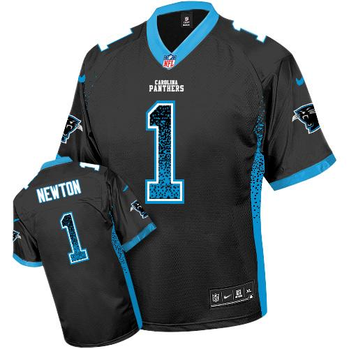 Nike Panthers #1 Cam Newton Black Team Color Youth Stitched NFL Elite Drift Fashion Jersey