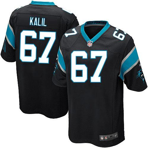 Nike Panthers #67 Ryan Kalil Black Team Color Youth Stitched NFL Elite Jersey