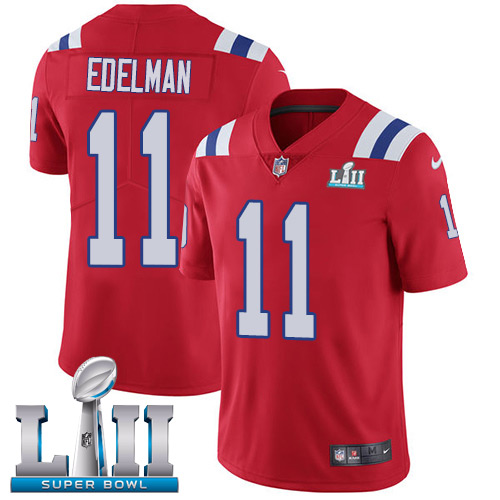 Nike Patriots #11 Julian Edelman Red Alternate Super Bowl LII Youth Stitched NFL Vapor Untouchable Limited Jersey