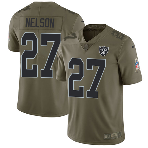Nike Raiders #27 Reggie Nelson Olive Youth Stitched NFL Limited Salute to Service Jersey