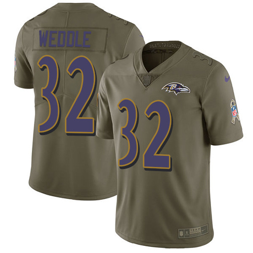 Nike Ravens #32 Eric Weddle Olive Youth Stitched NFL Limited Salute to Service Jersey