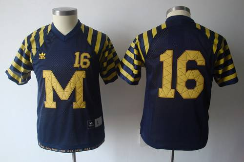 Wolverines #16 Denard Robinson Blue Under The Lights Stitched Youth NCAA Jersey