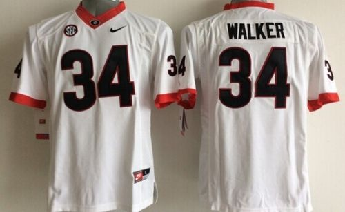 Bulldogs #34 Herschel Walker White Stitched Youth NCAA Jersey