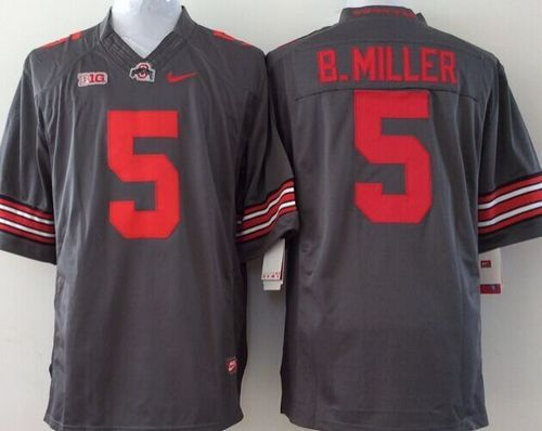 Buckeyes #5 Braxton Miller Grey Stitched Youth NCAA Jersey