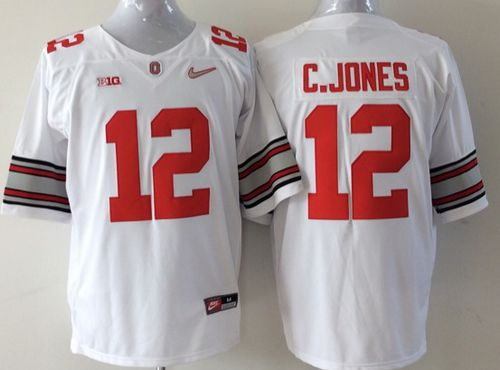 Buckeyes #12 Cardale Jones White Stitched Youth NCAA Jersey