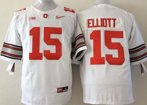 Buckeyes #15 Ezekiel Elliott White Stitched Youth NCAA Jersey