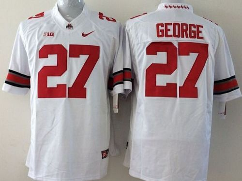 Buckeyes #27 Eddie George White Stitched Youth NCAA Jersey