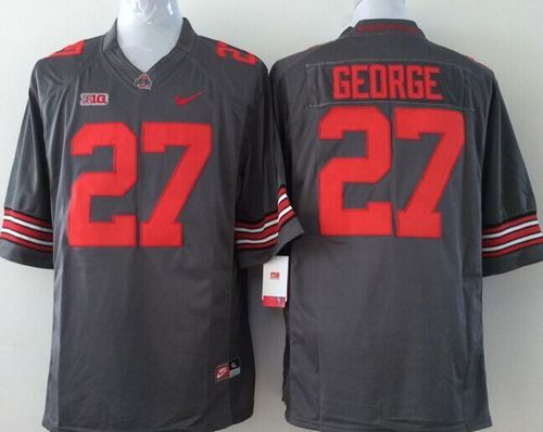 Buckeyes #27 Eddie George Grey Stitched Youth NCAA Jersey
