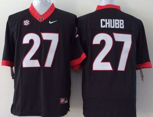 Bulldogs #27 Nick Chubb Black Stitched Youth NCAA Jersey