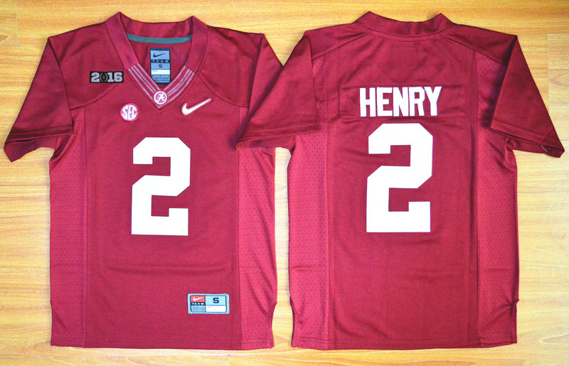 Crimson Tide #2 Derrick Henry Red 2016 National Championship Stitched Youth NCAA Jersey