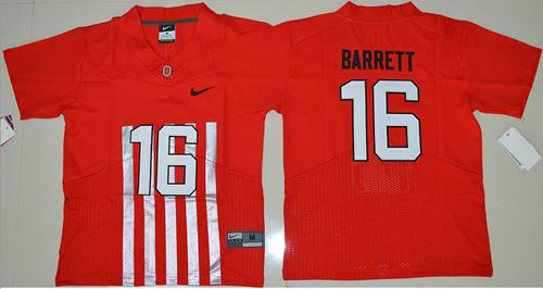 Buckeyes #16 J. T. Barrett Red Alternate Elite Stitched Youth NCAA Jersey