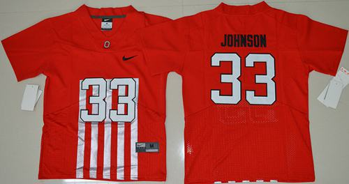 Buckeyes #33 Pete Johnson Red Alternate Elite Stitched Youth NCAA Jersey