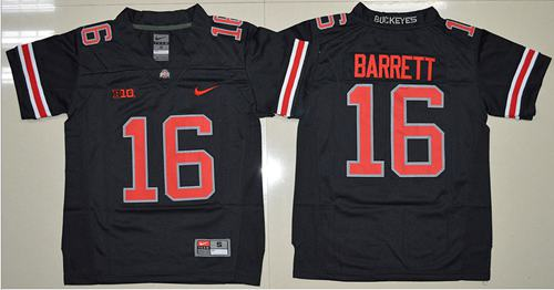 Buckeyes #16 J. T. Barrett Black(Red No.) Limited Stitched Youth NCAA Jersey